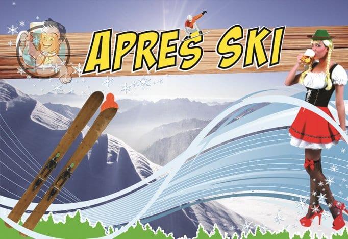 Bedrijfsfeestdokter feestthema apres ski